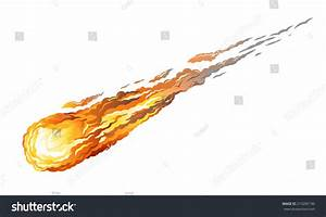 Falling Asteroid With Long Fiery Tail, Isolated On White ...