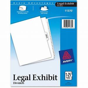 avery 11370 premium collated legal exhibit divider sets With avery exhibit labels