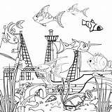 Tank Fish Coloring Inside Drowning Galeon Drawing Castle Netart Getdrawings sketch template