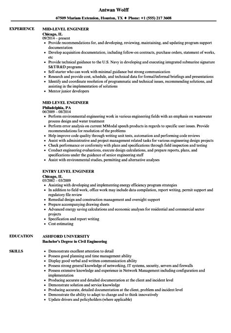 Engineering Resume by Level Engineer Resume Sles Velvet