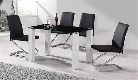 black and white table l black glass white high gloss dining table 4 chairs