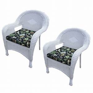 Pack, Of, 2, Bright, White, Stylish, Outdoor, Patio, Resin, Wicker, Arm, Chairs, With, Cushions, 35, 35