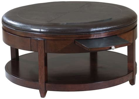 round black leather wood ottoman coffee table with pull