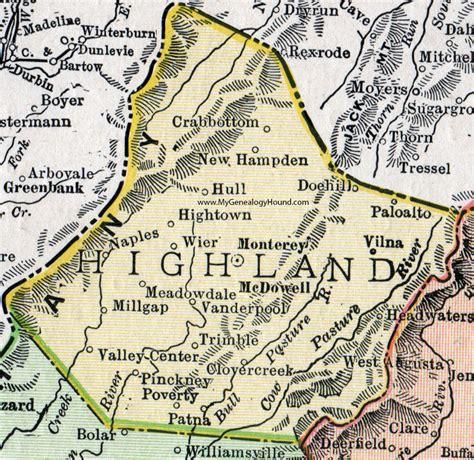 Highland County, Virginia, Map, 1911, Rand McNally ...