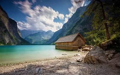 Summer Mountain Lake Beach Landscape Nature Alps