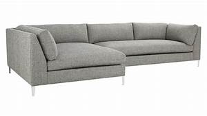 Decker 2 piece large grey sectional sofa cb2 for Decker 2 piece sectional sofa