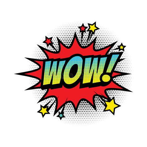 Wow Comic Text Bubble Vector Isolated Color Icon Stock