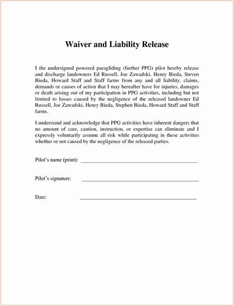 Liability Waiver Template 6 Fitness Waiver And Release Form Template Ueeur