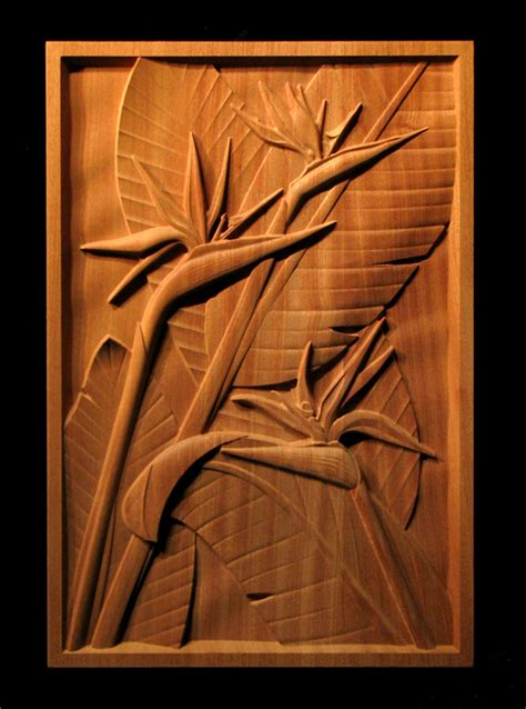 bird  paradise carved panel