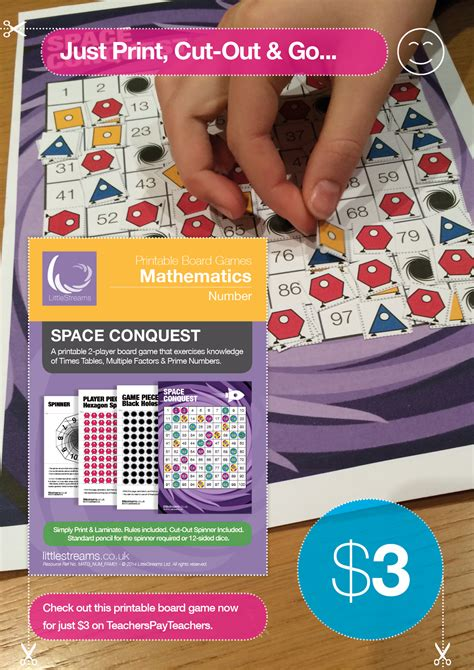 primes multiples  times tables board game space