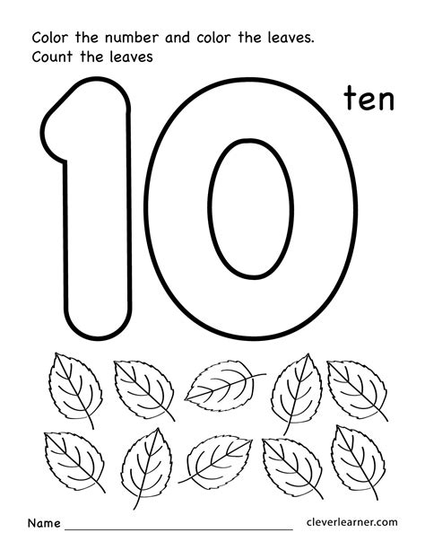 number ten writing counting and identification printable 584 | Number 10 preschool worksheets 01