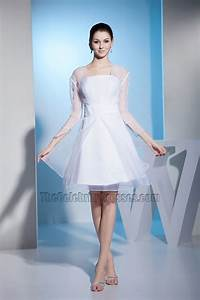 white long sleeve organza short wedding dress cocktail With cocktail dresses with sleeves for weddings