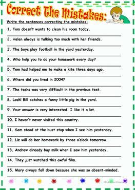 english esl correct  mistakes worksheets