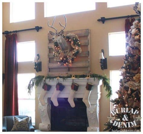 deer christmas mantle burlap denim blog
