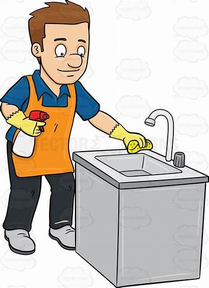 Clean Cartoon Kitchen Clipart Sink Cleaning Toilet