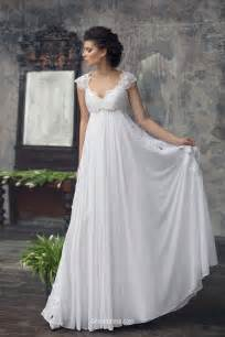capped sleeve wedding dress empire cap sleeves chiffon lace summer wedding dress groupdress