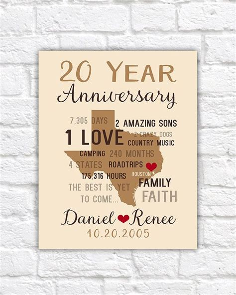 20th wedding anniversary gift anniversary gifts for men 20th anniversary gift for him or her husband wife personalized