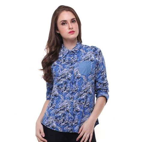 model baju batik wanita kantor lengan panjang terbaru