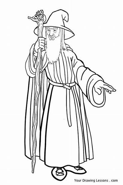 Gandalf Drawing Lord Rings Coloring Draw Gollum