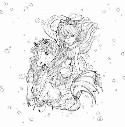 Coloring Manga Pop Mermaids Sea Creatures Mermaid