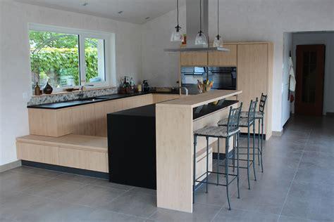peinture cuisine moderne cuisine avec îlot et retour bar david giller menuiserie