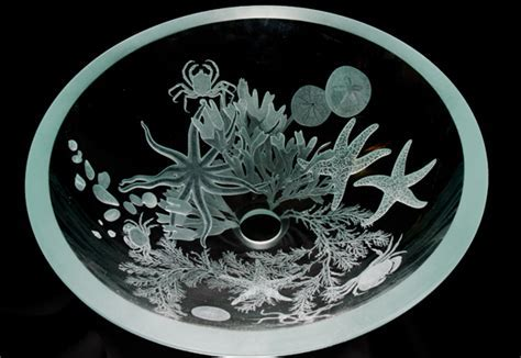Sea Life Hand Etched Glass Sink   Sinks Gallery