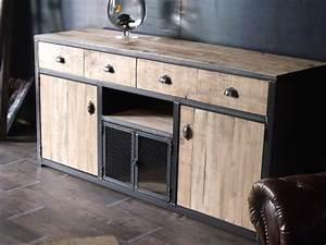 Meuble Bois Et Acier : meuble buffet bois de palette micheli design ~ Teatrodelosmanantiales.com Idées de Décoration