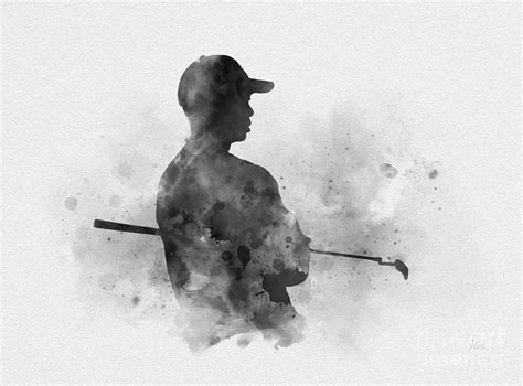 Tiger Woods black and white Mixed Media by My Inspiration