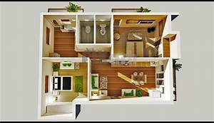 2 Bedroom House Plans Designs 3D small house