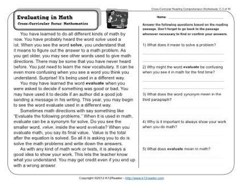 evaluating  math  grade reading comprehension worksheet