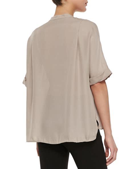 half sleeve blouse vince contrast trim half sleeve blouse in lyst