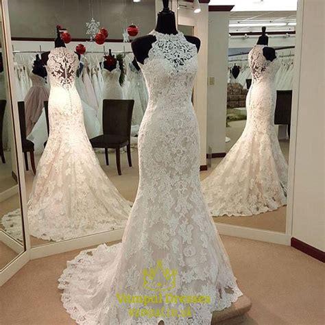 white lace sleeveless halter neck mermaid wedding dress
