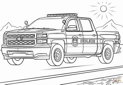 Coloring Police Truck Pages Printable Drawing Paper