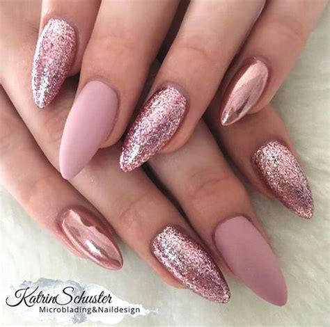 nageldesign elegant  elegant rose gold nail