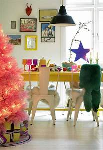 cute-and-beautiful-pink-christmas-tree-with-dining-room-ideas