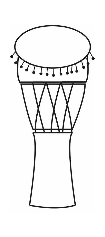 Drum Clipart Djembe Pages Drawing Colouring African