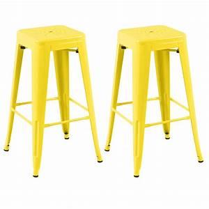 Tabouret De Bar Jaune : tabouret de bar indus jaune lot de 2 d couvrez les tabourets de bar indus jaunes rdv d co ~ Teatrodelosmanantiales.com Idées de Décoration
