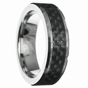 6mm Carbon Fiber Beveled Tungsten Carbide Men Women Ring