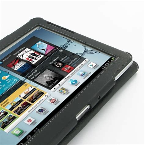 samsung galaxy tab   leather flip carry cover black
