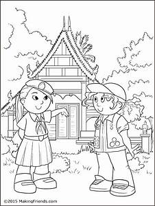Thailand Girl Guide Coloring Page