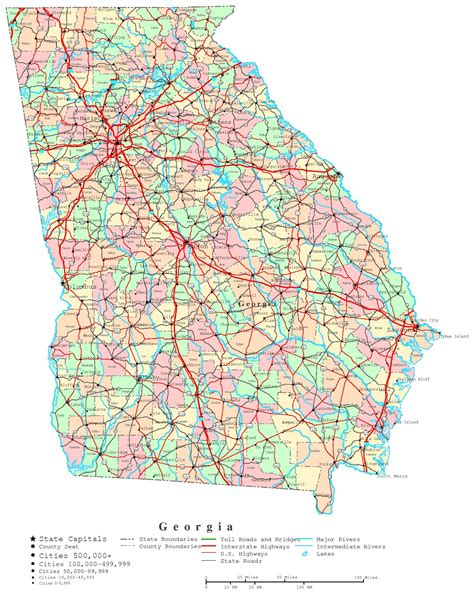 Georgia City Map Printable