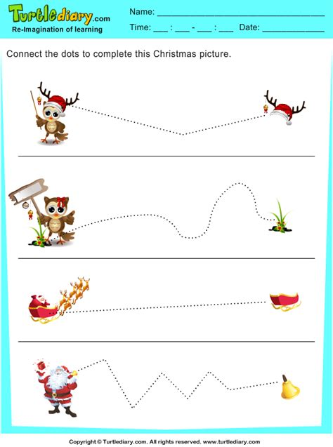 tracing sleigh worksheet turtle diary