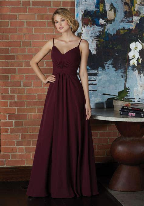 V-Neck Chiffon Bridesmaid Dress with Twist Front Bodice ...
