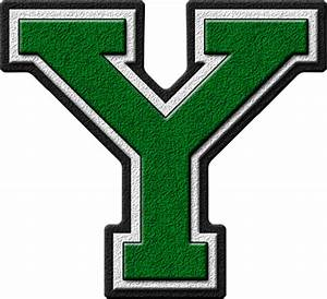 Presentation Alphabets: Green Varsity Letter Y