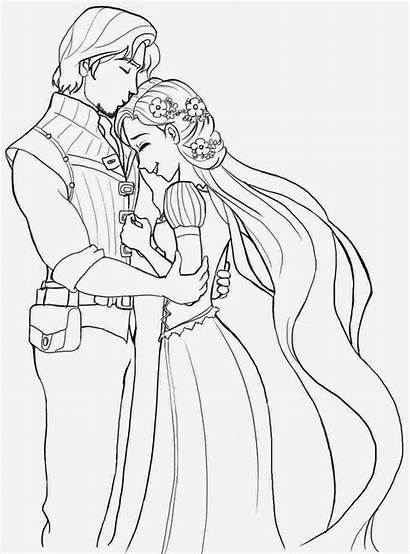 Rapunzel Coloring Pages Princess Tangled Flynn Anna