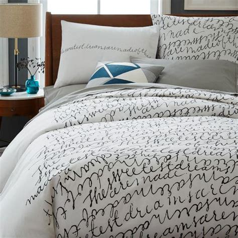 patch nyc script black  white duvet cover  shams