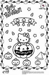 Halloween Coloring Kitty Pages Hello Pumpkin sketch template