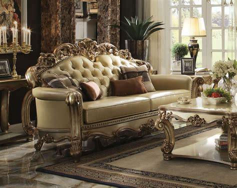 gold patina vendome royal living set  acme furniture