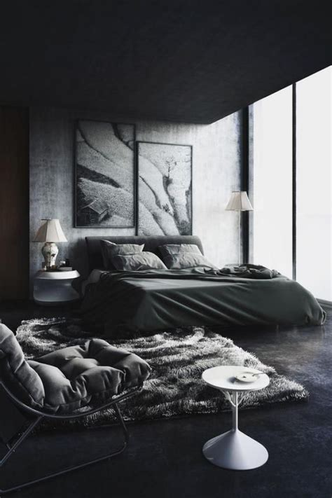 Bedroom Design Ideas Black And White by Cool Masculine Bedroom For Mens Blanc And Gray Colors