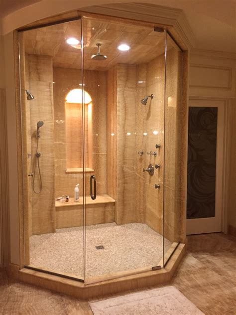 honey onyx shower stone city kitchen bath design